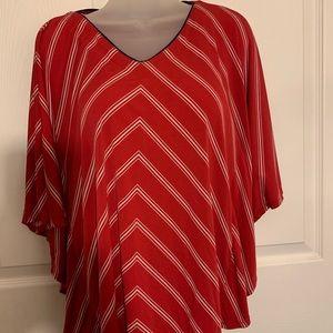 Susan Graver striped Liquid Knit V-Neck Scarf Top